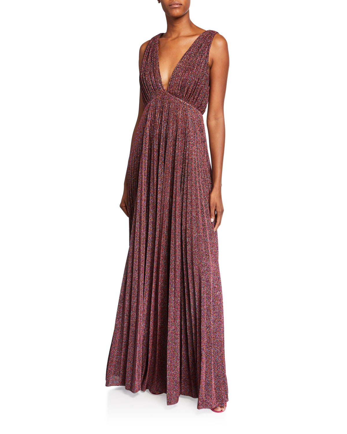Jill Stuart METALLIC KNIT V-NECK SLEEVELESS PLEATED GOWN
