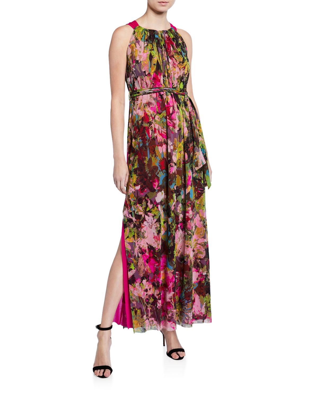 Fuzzi Dresses FLORAL HALTER MAXI DRESS