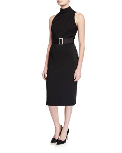 Nellie Mock-Neck Sleeveless Belted Crepe Dress