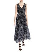 Fuzzi Animal Print V-Neck Sleeveless Long Dress