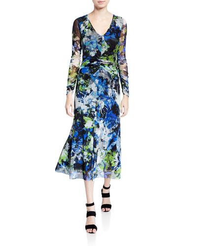 Floral V-Neck Long-Sleeve Shirred Front Midi Dress