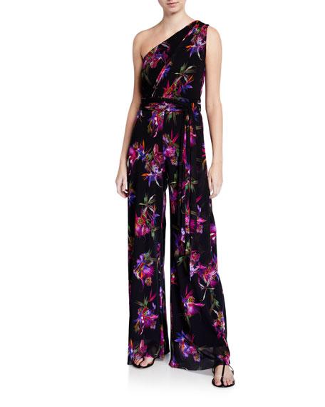 Fuzzi Floral One-Shoulder Wide-Leg Tie Belt Jumpsuit