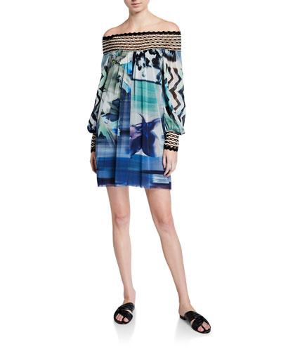 Off-the-Shoulder Long-Sleeve Short Dress