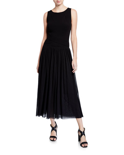 Sleeveless Wrap Waist Full Skirt Long Dress