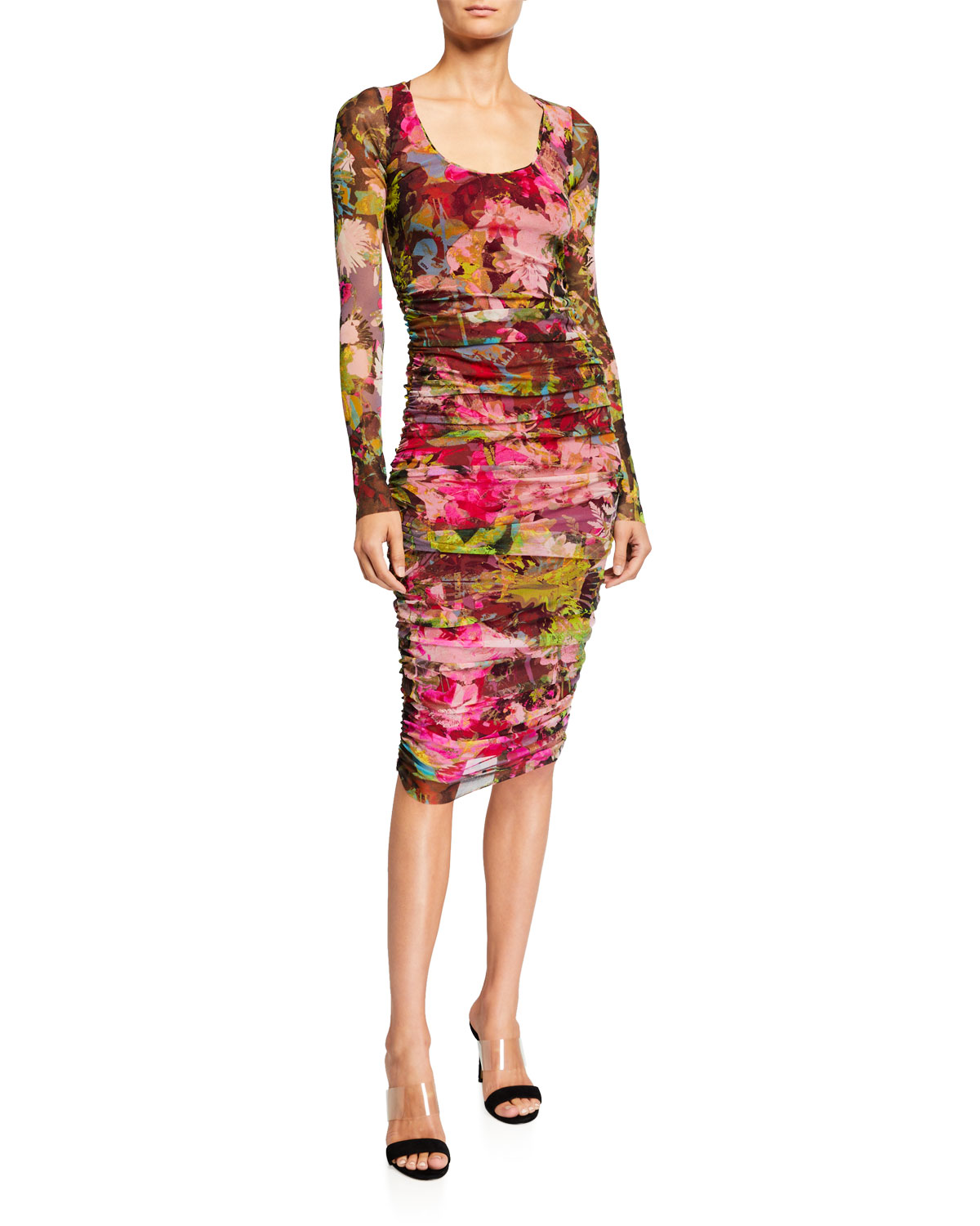 Fuzzi Dresses FLORAL LONG-SLEEVE SHIRRED DRESS