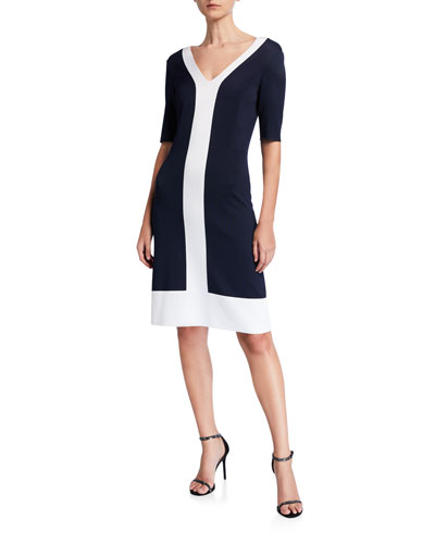Colorblock Milano V-Neck Dress