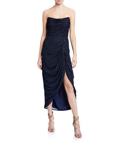 Emilia Metallic Dot Ruched Strapless High-Low Midi Dress
