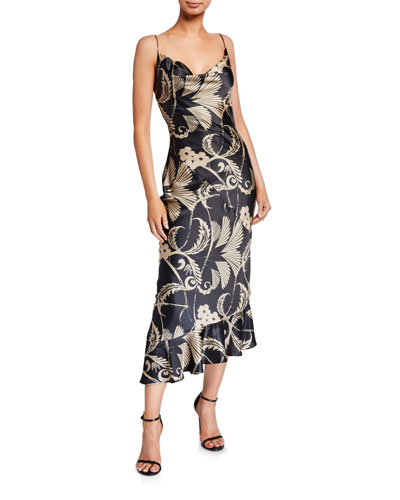 Clara Printed Backless Midi Slip Dress