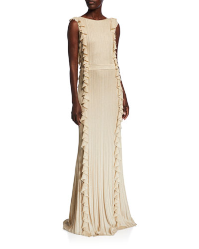 Shimmer Ottoman Knit Ruffled Gown