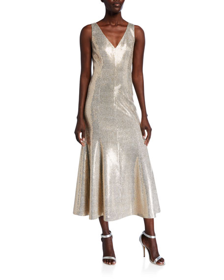 St. John Collection Evening Paillette Shimmer V-Neck Dress