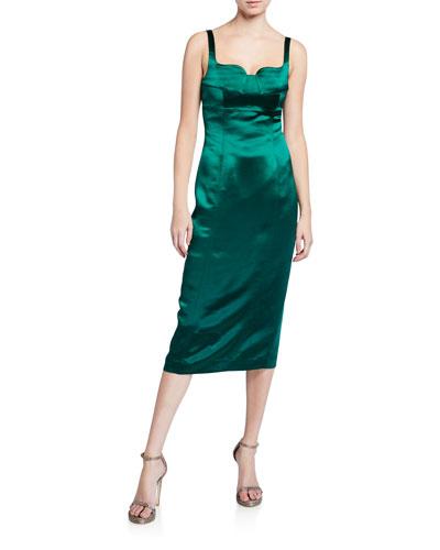 Betina Sleeveless Satin Midi Dress