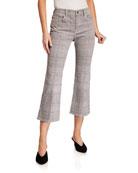 FRAME Le Cropped Mini Boot-Cut Plaid Jeans