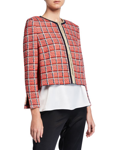 Metallic Plaid Knit Cropped Jacket