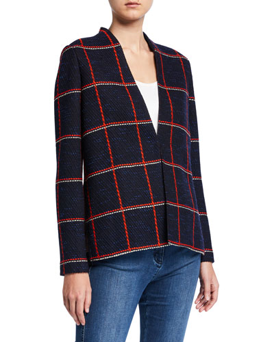 Maritime Plaid Knit High-Low Jacket