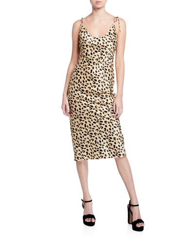 Christina Cheetah-Print Scoop-Neck Tie-Shoulder Midi Dress