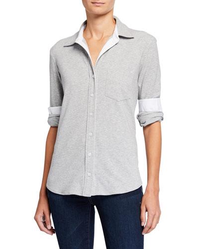 Alex Easy Melange Button-Down Shirt w/ Poplin Trim