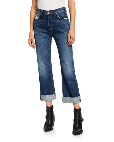 90s Loose Straight-Leg Jeans with Cuff
