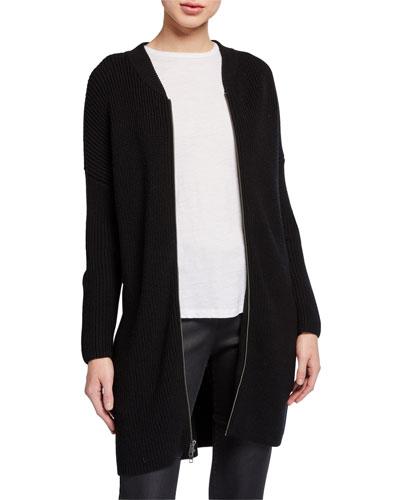 Merino Wool Zip-Front Long Cardigan
