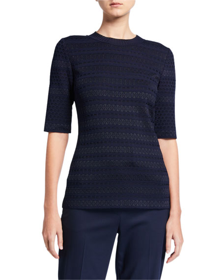 St. John Collection Engineered Lace Jacquard Elbow-Sleeve Top