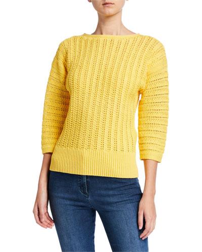 Slip Knit Bateau-Neck 3/4 Sleeve Sweater