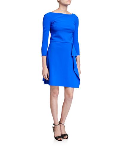 Bateau-Neck 3/4-Sleeve A-Line Asymmetric Skirt Dress