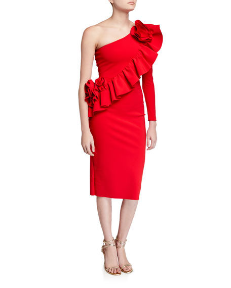Chiara Boni La Petite Robe Asymmetric One-Shoulder Knee-Length Ruffle Cocktail Dress