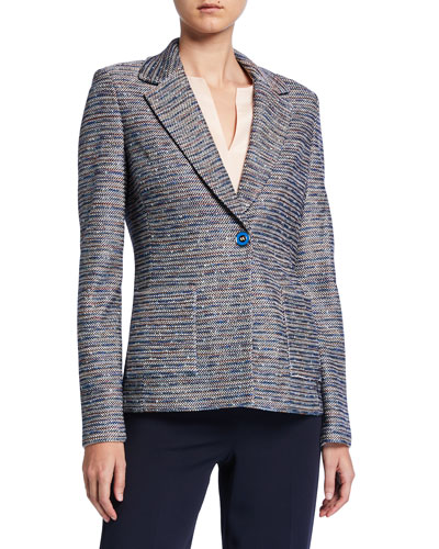 Space Dyed Ribbon Tweed Knit Jacket w/ Patch Pockets