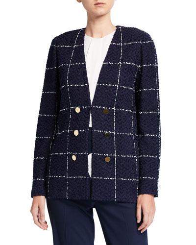 Herringbone Grid Knit Faux Double Breasted Jacket