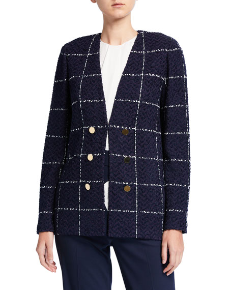 St. John Collection Herringbone Grid Knit Faux Double Breasted Jacket