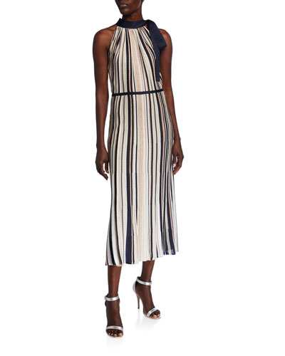 Glittering Striped Ottoman Halter Dress