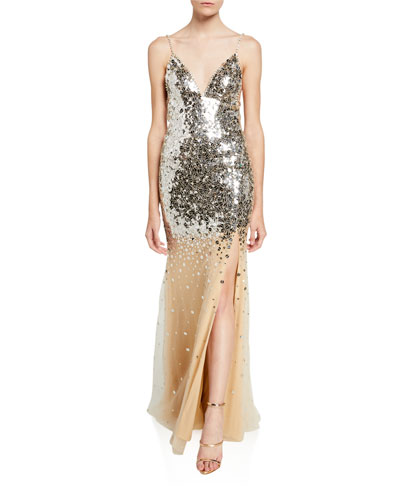 V-Neck Mirror Sequined Spaghetti-Strap Gown