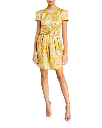 Super Eight Floral Brocade Belted Mini Dress