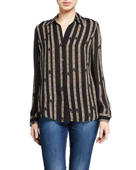 L'Agence Nina Printed Button-Down Silk Blouse