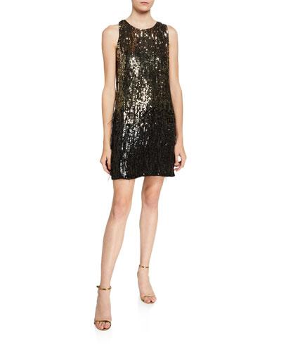 Allegra Ombre Beaded Sleeveless Mini Shift Dress w/ Feather Trim