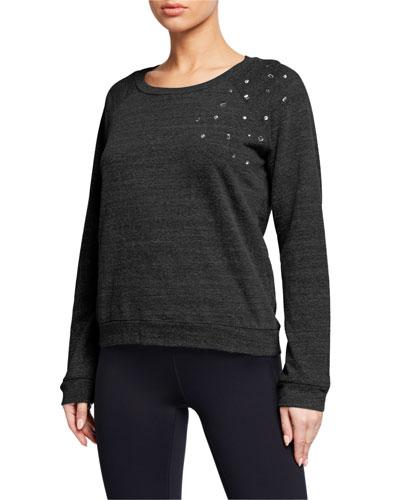 Vintage Raglan-Sleeve Sweatshirt with Clustered Rhinestones