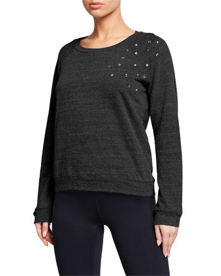 Monrow Vintage Raglan-Sleeve Sweatshirt with Clustered Rhinestones
