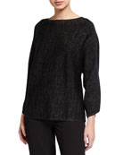 Eileen Fisher Sparkle Bateau-Neck Sweater