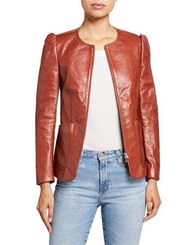 Casual Leather Jacket   Neiman Marcus