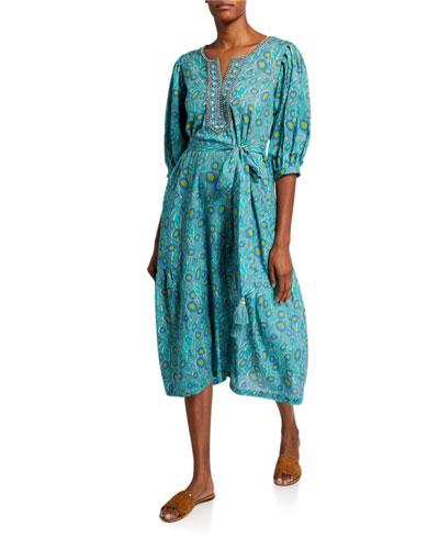 Harper Printed Peasant Dress with Embellishment