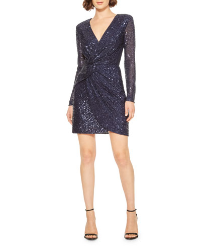 Philippa Sequin V-Neck Long-Sleeve Mini Dress w/ Shoulder Pads