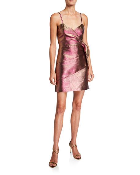 Parker Black Rita Metallic Spaghetti-Strap Mini Dress with Side Bow