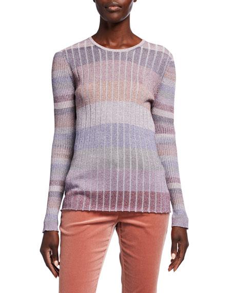 JED Gumdrop Stripe Skinny Mini Rib Crewneck Sweater
