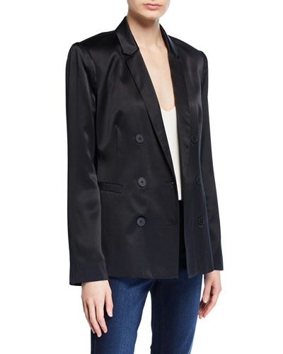 Silk Satin Double-Breasted Blazer