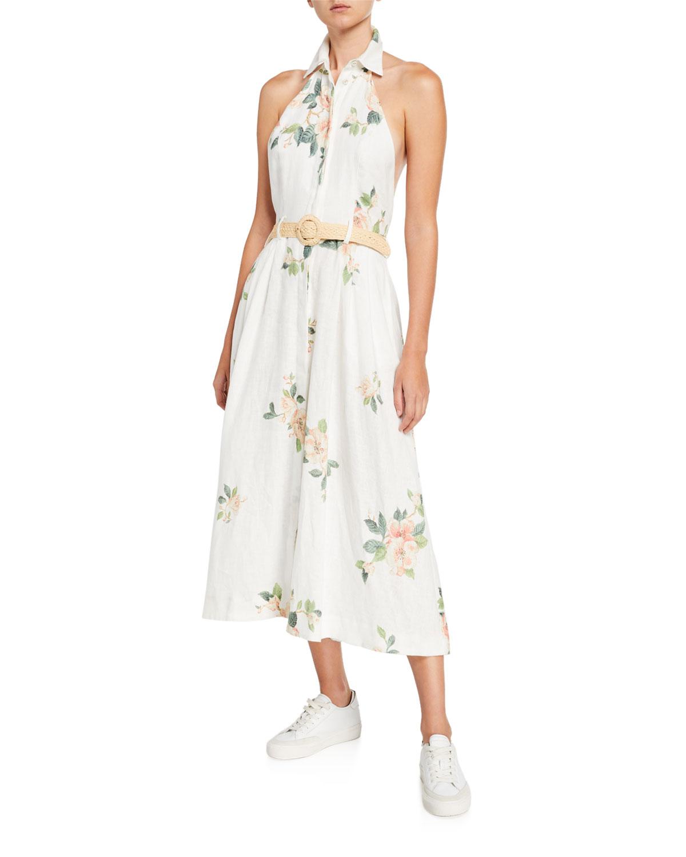Zimmermann Dresses KIRRA COLLARED FLORAL BELTED HALTER DRESS