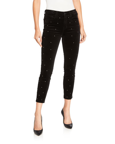 Margot High-Rise Scattered Crystal Velvet Pants