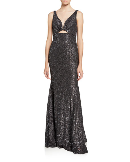 Jovani Glitter Lace V-Neck Sleeveless Front Cutout Gown