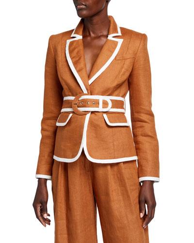 Super Eight Belted Linen Blazer