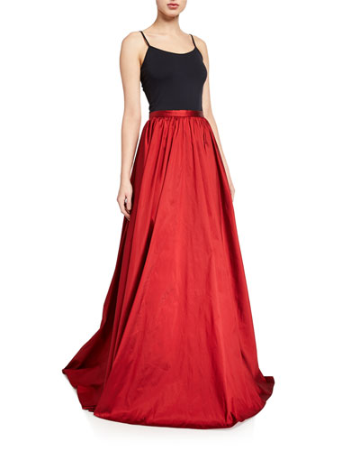 Long Taffeta A-Line Skirt