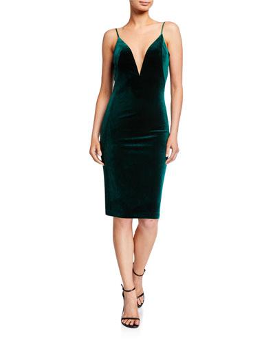 Plunge-Neck Velvet Slip Dress