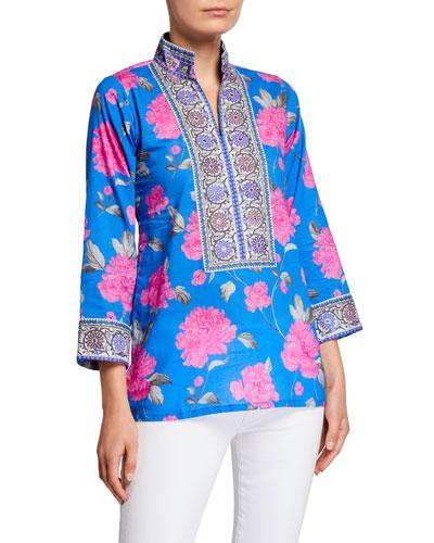 Peony-Print Mandarin Collar Tunic with Borders